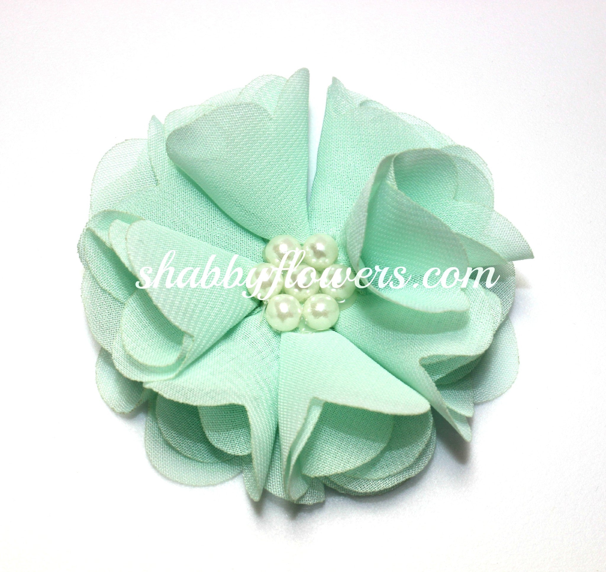 Chiffon Pearl Flower - Mint - shabbyflowers.com