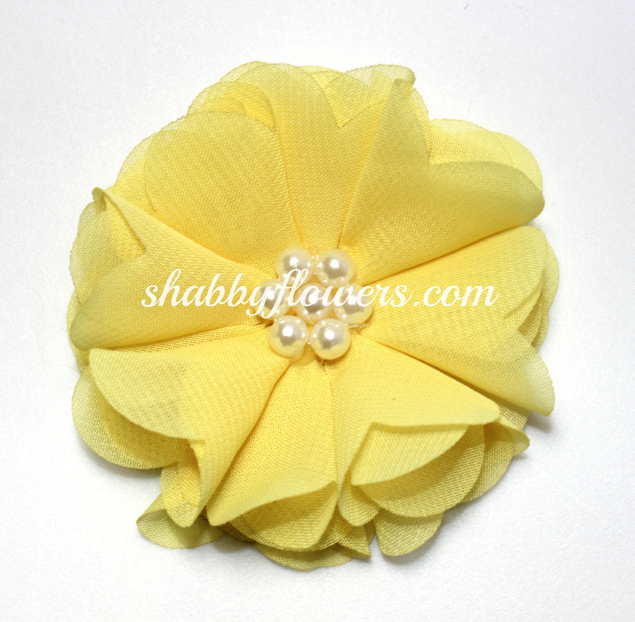 Chiffon Pearl Flower - Pale Yellow - shabbyflowers.com
