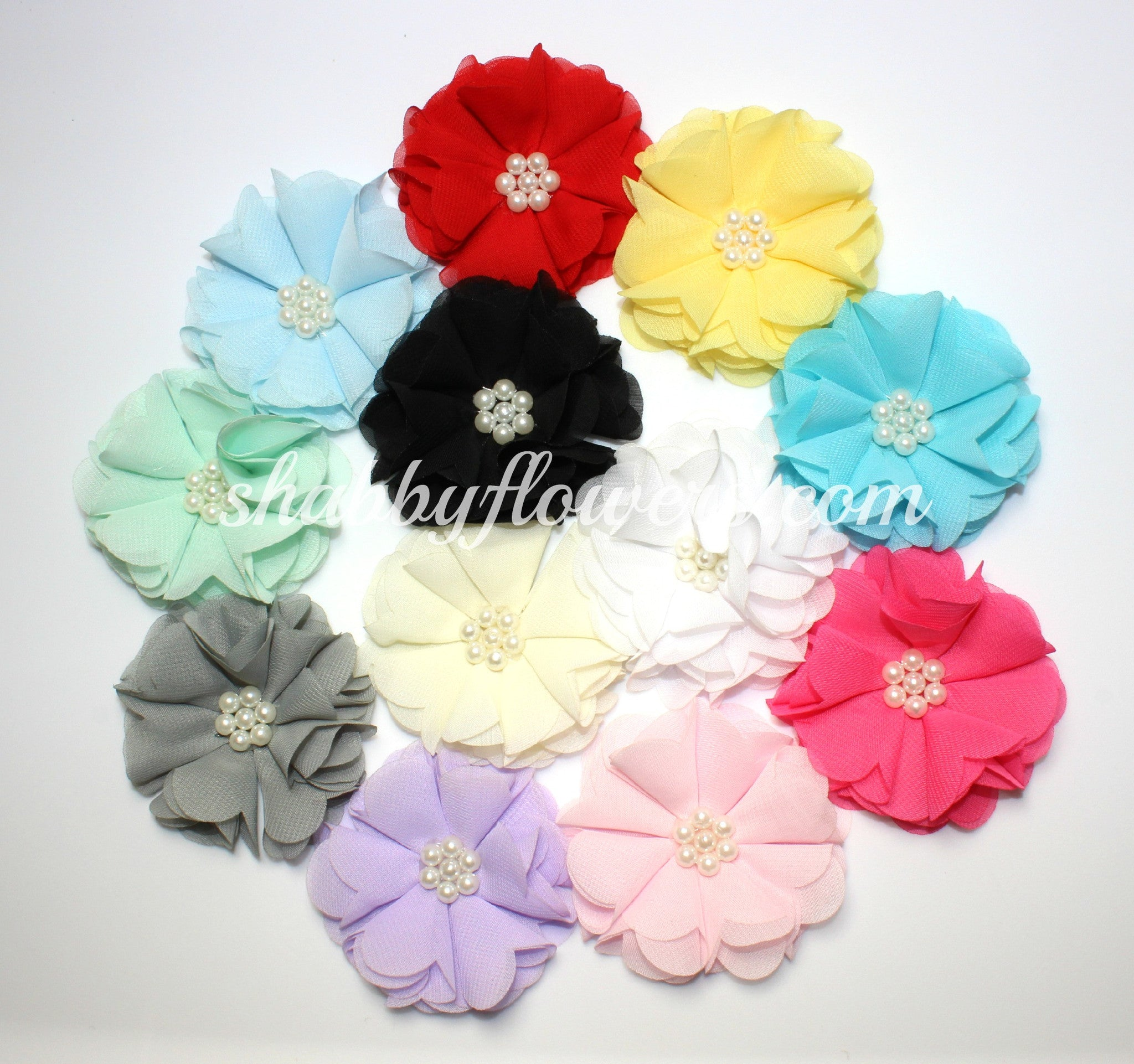 Chiffon Pearl Flower Pack of 10 - shabbyflowers.com