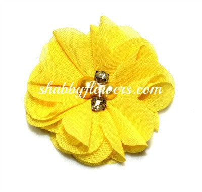 Pearl & Rhinestone Flower- Yellow - shabbyflowers.com