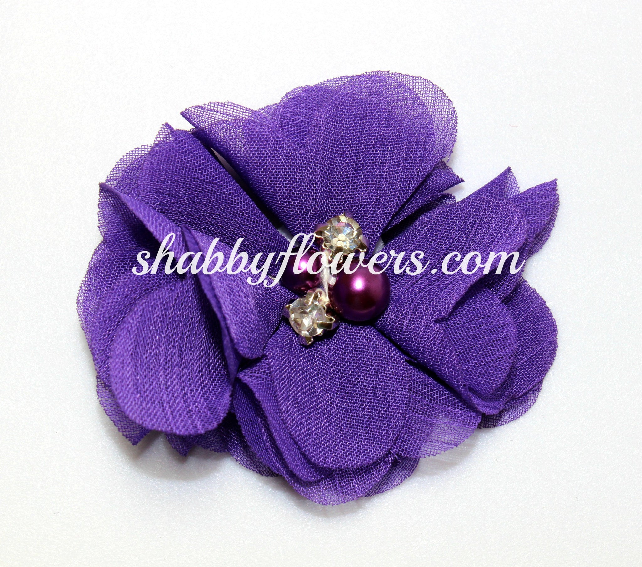 Pearl & Rhinestone Flower- Purple - shabbyflowers.com
