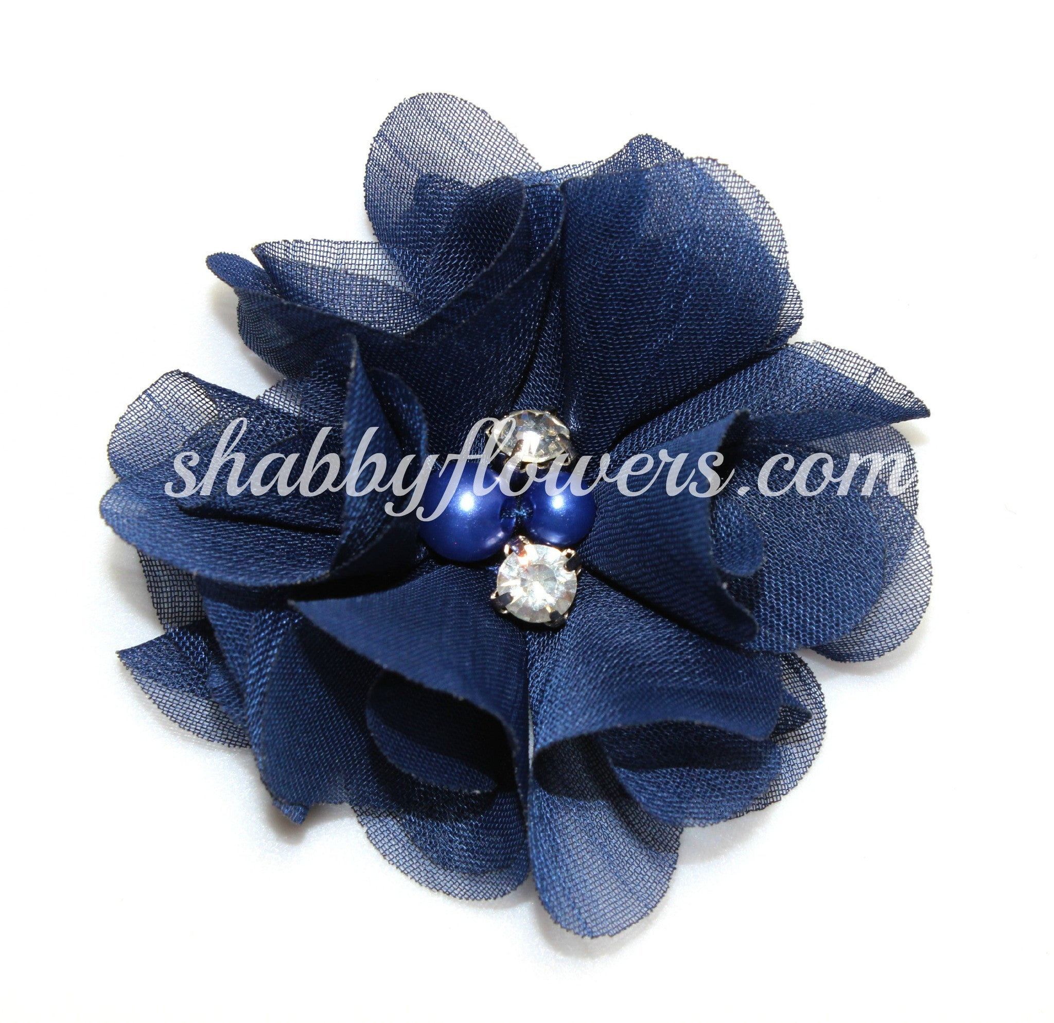 Pearl & Rhinestone Flower- Navy - shabbyflowers.com