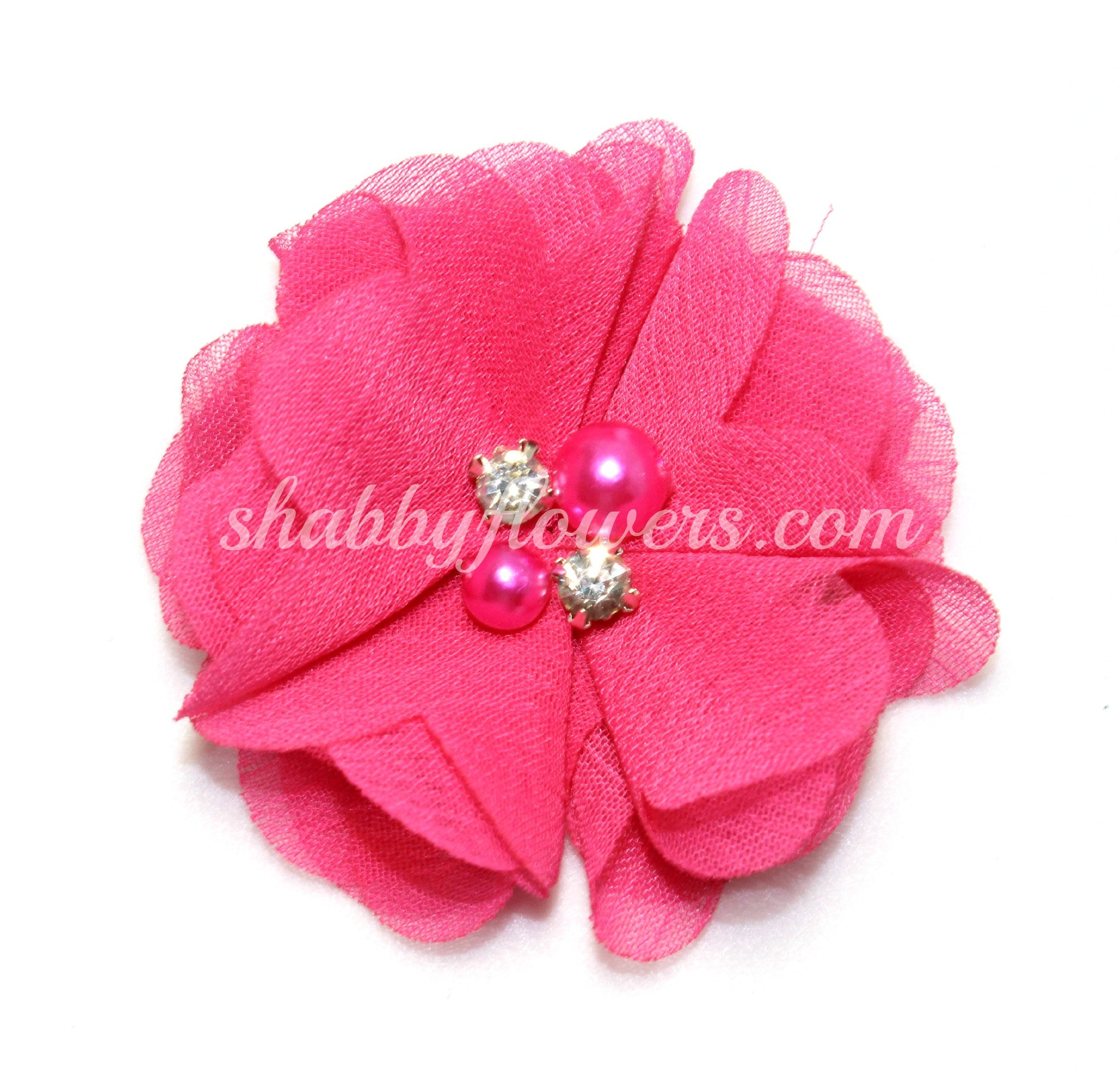 Pearl & Rhinestone Flower- Hot Pink - shabbyflowers.com