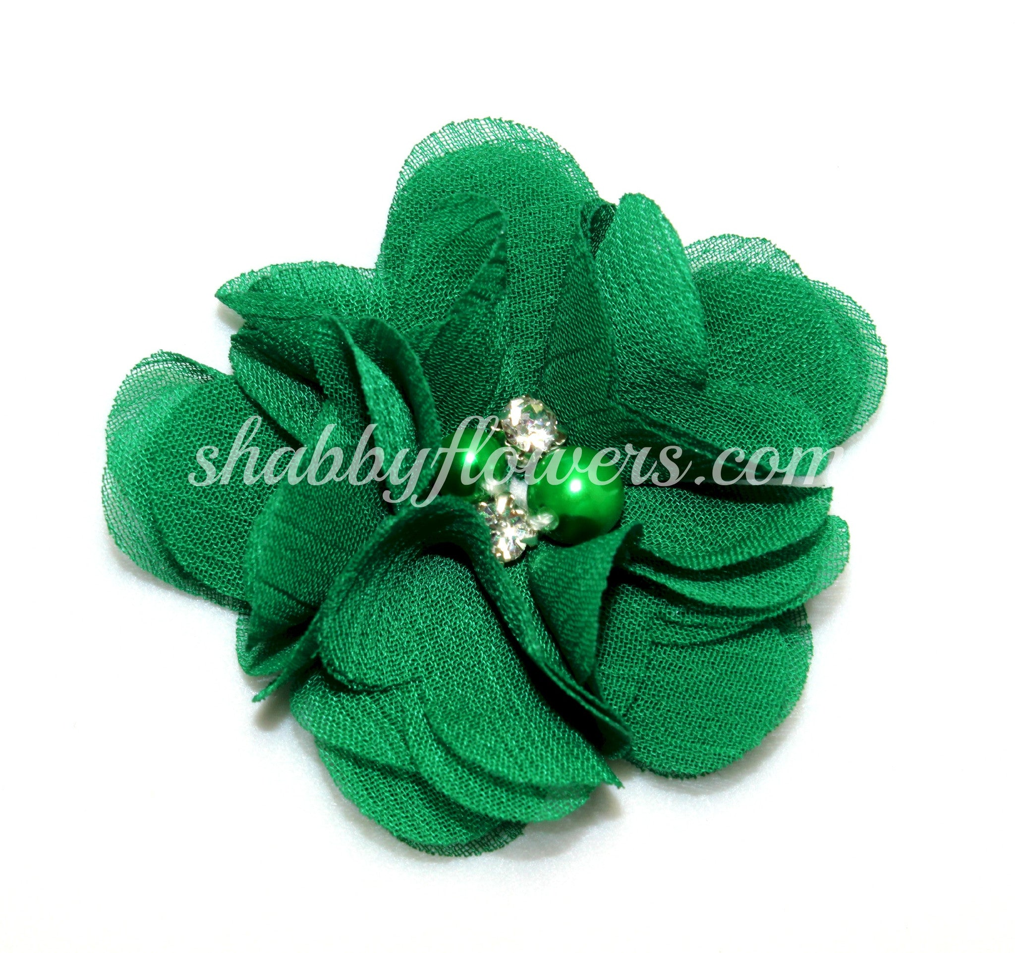 Pearl & Rhinestone Flower- Emerald Green - shabbyflowers.com