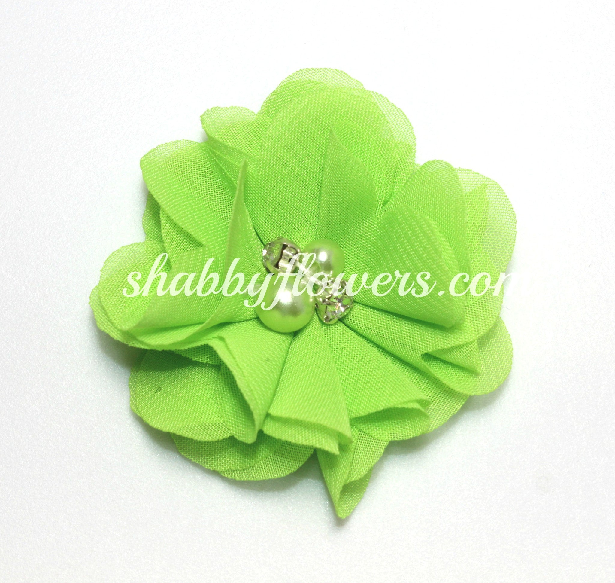 Pearl & Rhinestone Flower-Lime - shabbyflowers.com