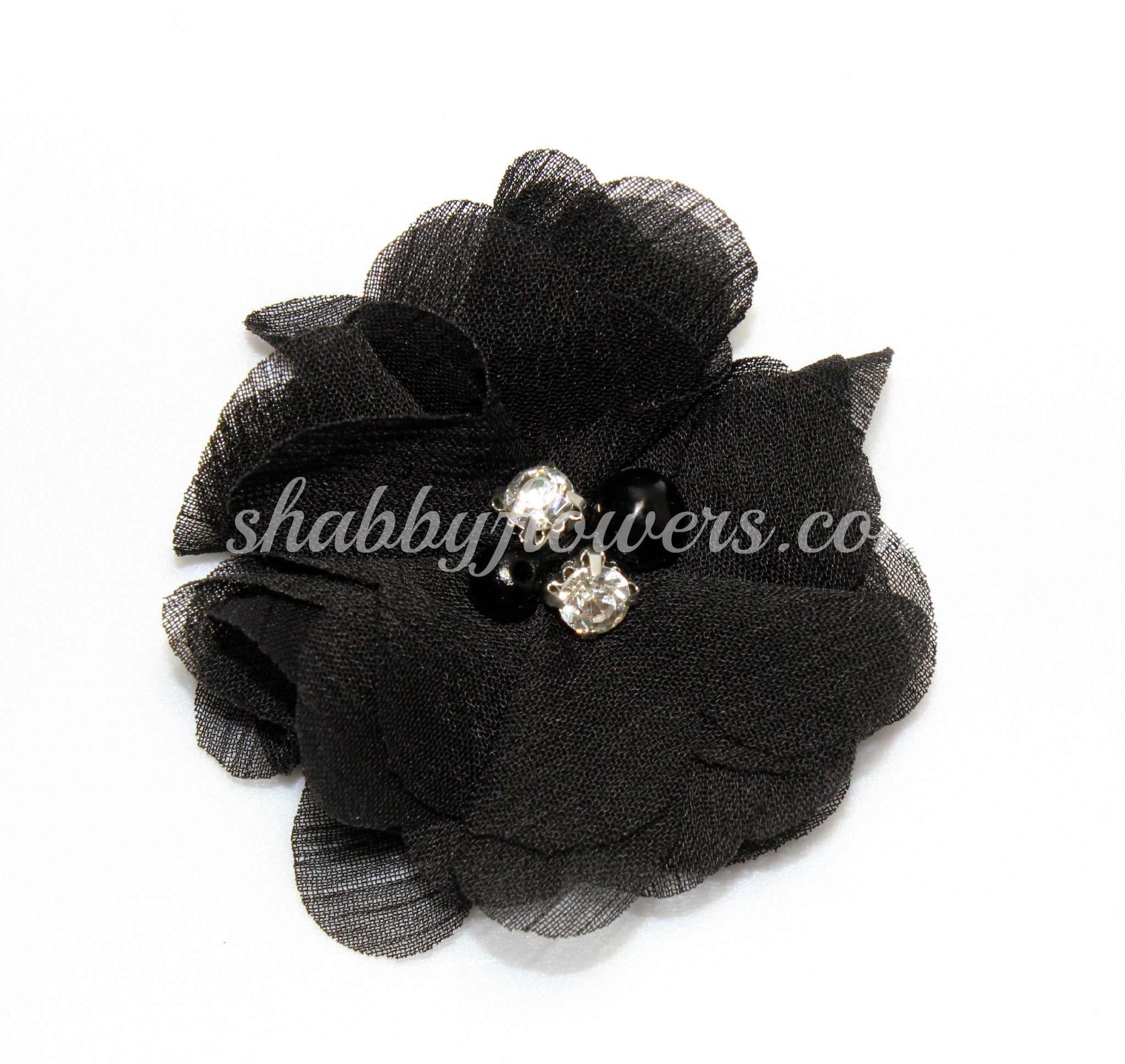 Pearl & Rhinestone Flower - Black - shabbyflowers.com