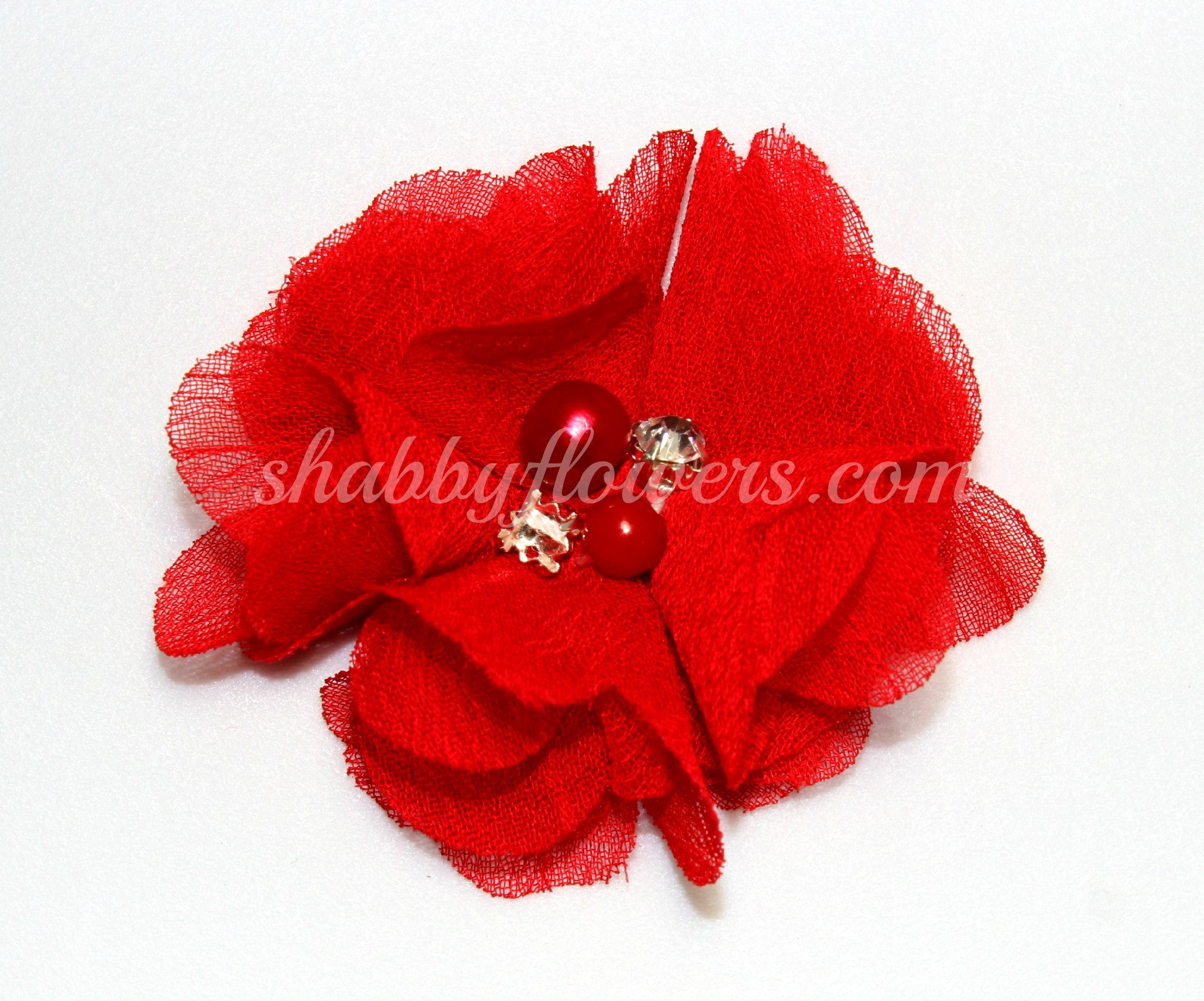 Pearl & Rhinestone Flower- Red