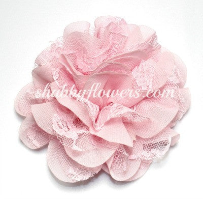 Chiffon and Lace Flower - Pale Pink