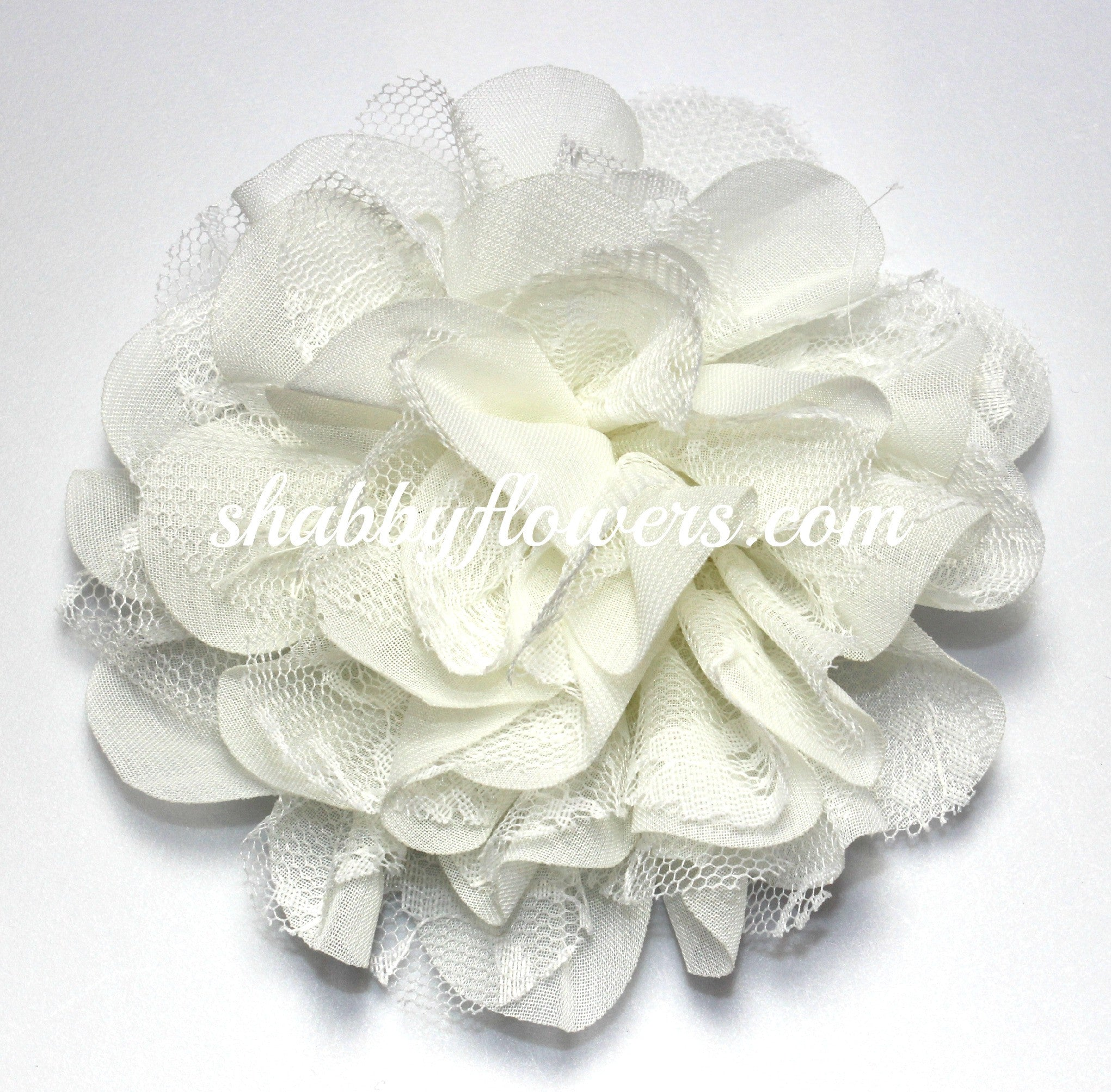 Chiffon and Lace Flower - Ivory - shabbyflowers.com