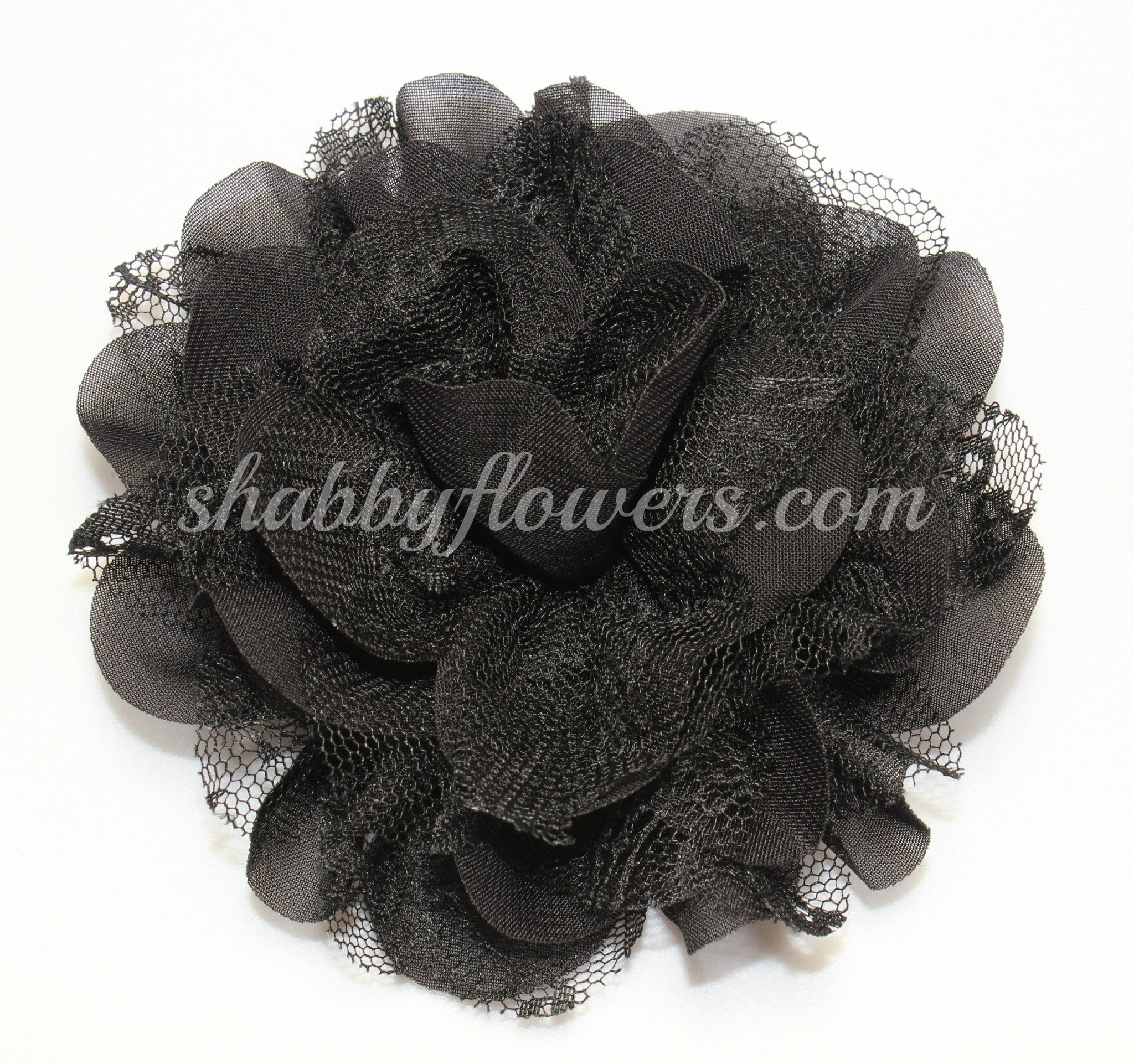 Chiffon and Lace Flower - Black - shabbyflowers.com