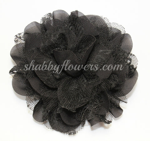 Chiffon and Lace Flower - Black