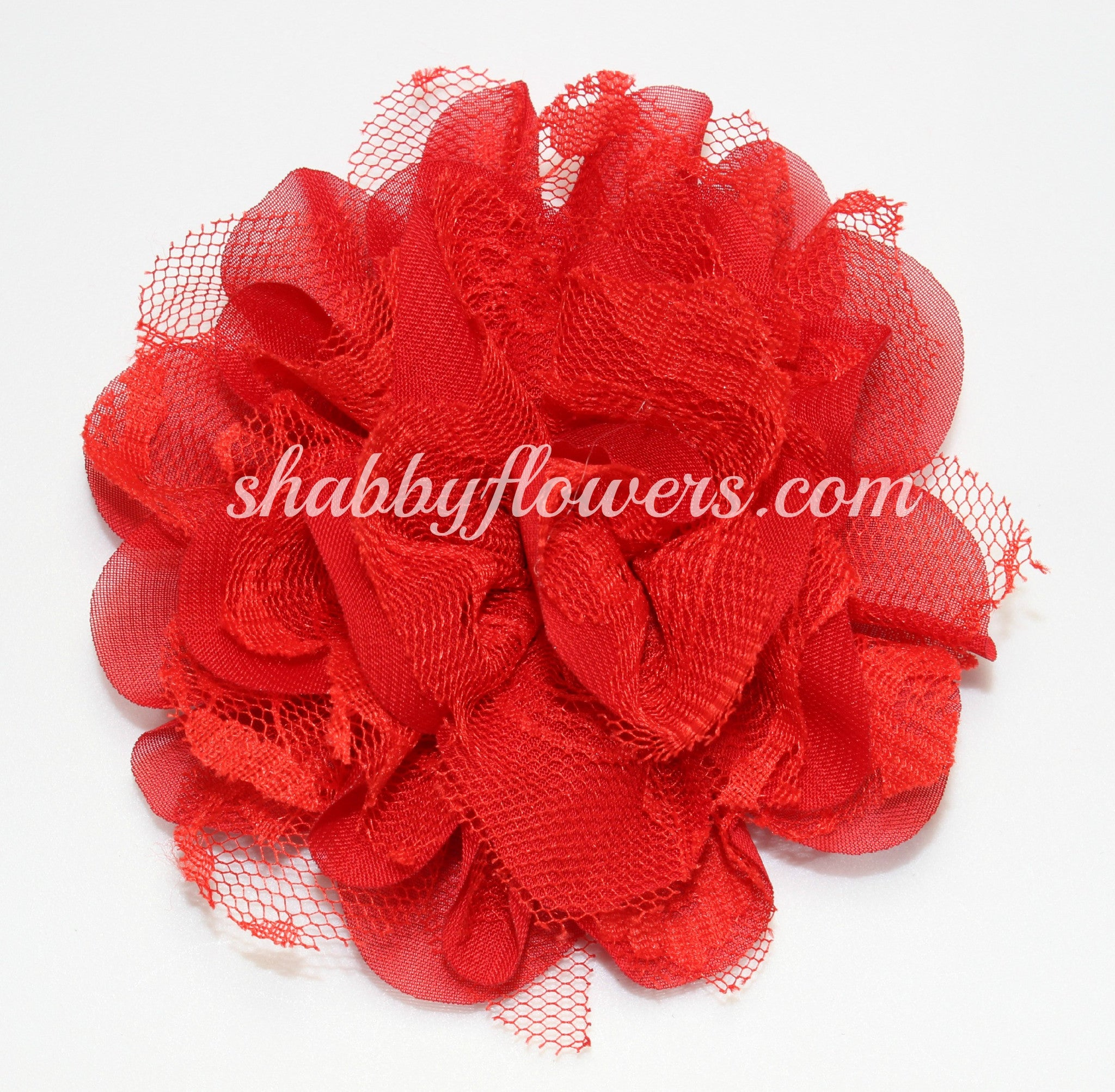 Chiffon and Lace Flower - Red - shabbyflowers.com