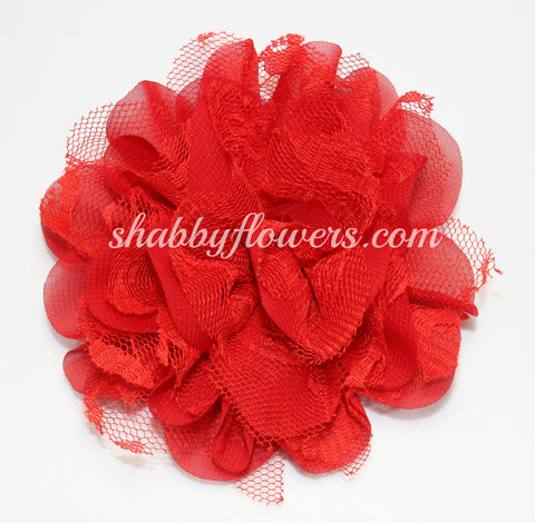 Chiffon and Lace Flower - Red