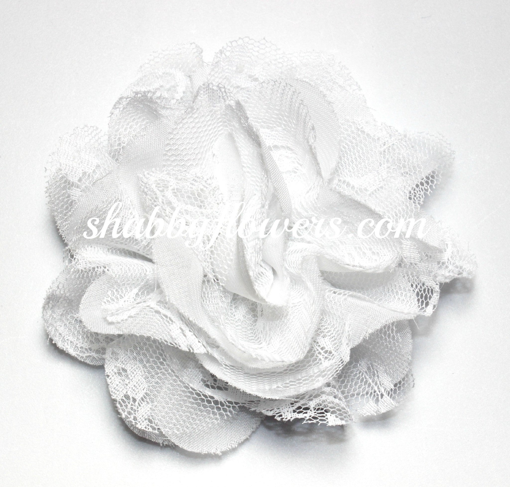 Chiffon and Lace Flower - White - shabbyflowers.com