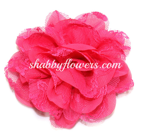 Chiffon and Lace Flower - Hot Pink
