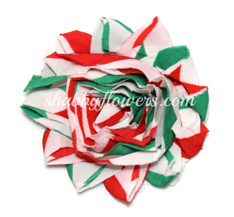 Shabby Chiffon Flower - Christmas Red/White/Green Chevron