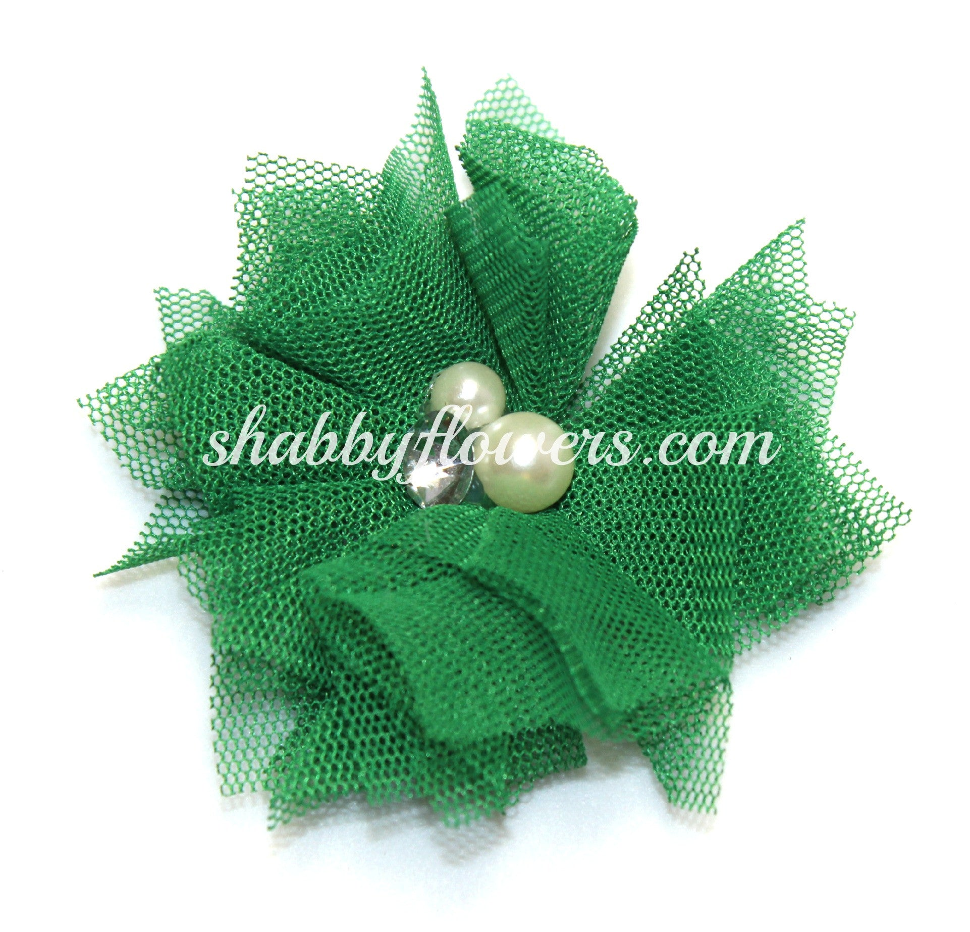 Tulle Pearl Flower - Emerald Green - shabbyflowers.com