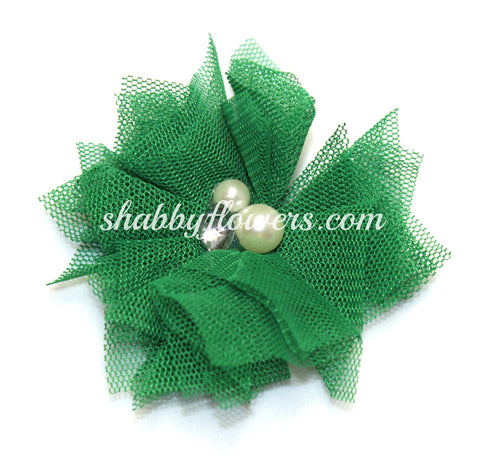 Tulle Pearl Flower - Emerald Green