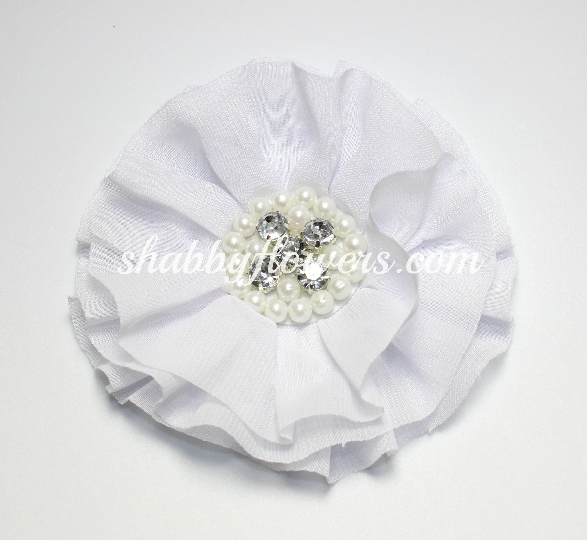 Jeweled Flower - White - shabbyflowers.com