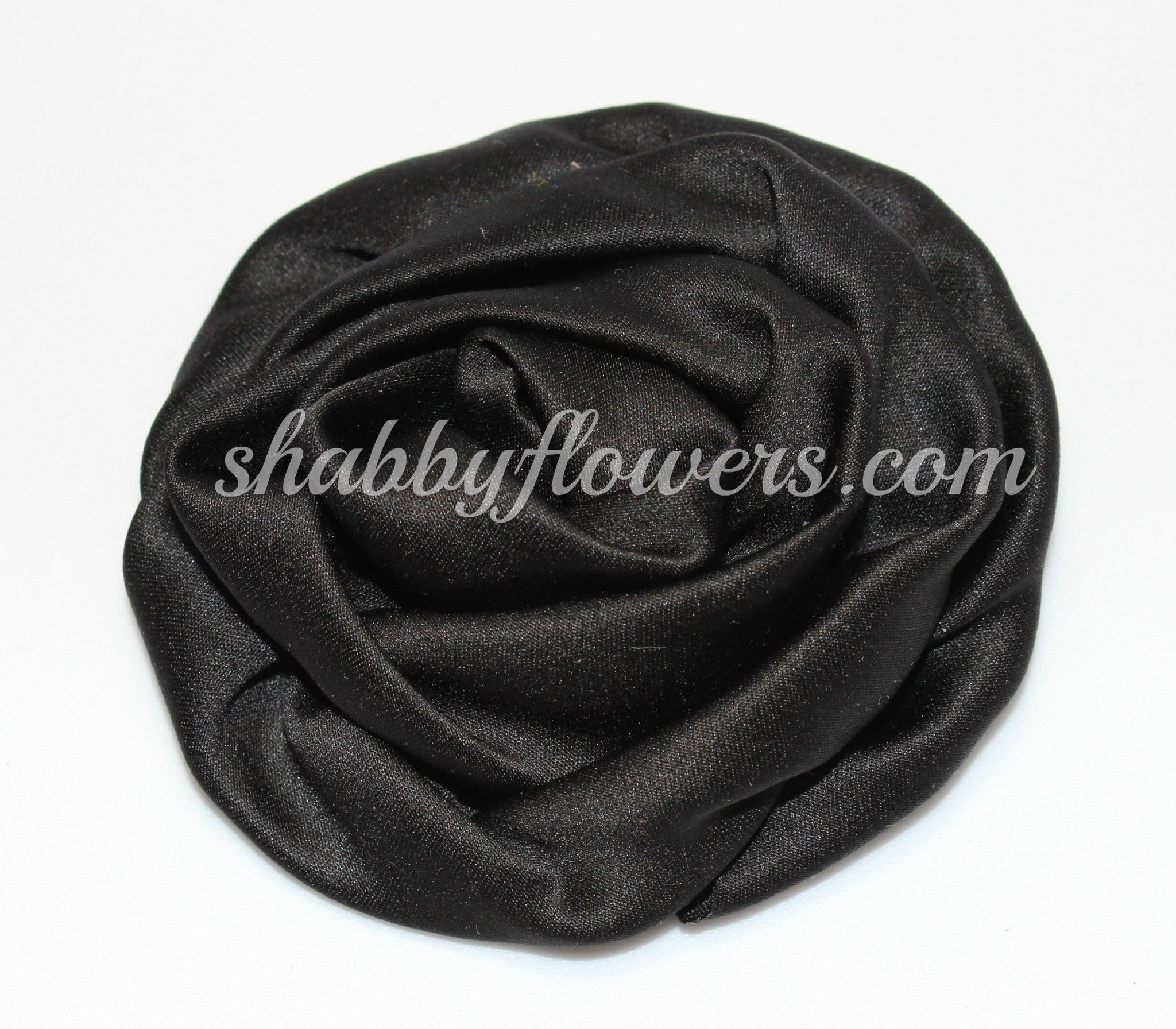 Ruffle Rosette- Black - shabbyflowers.com