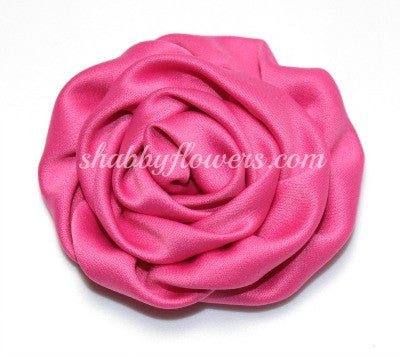 Ruffle Rosette- Raspberry Rose - shabbyflowers.com