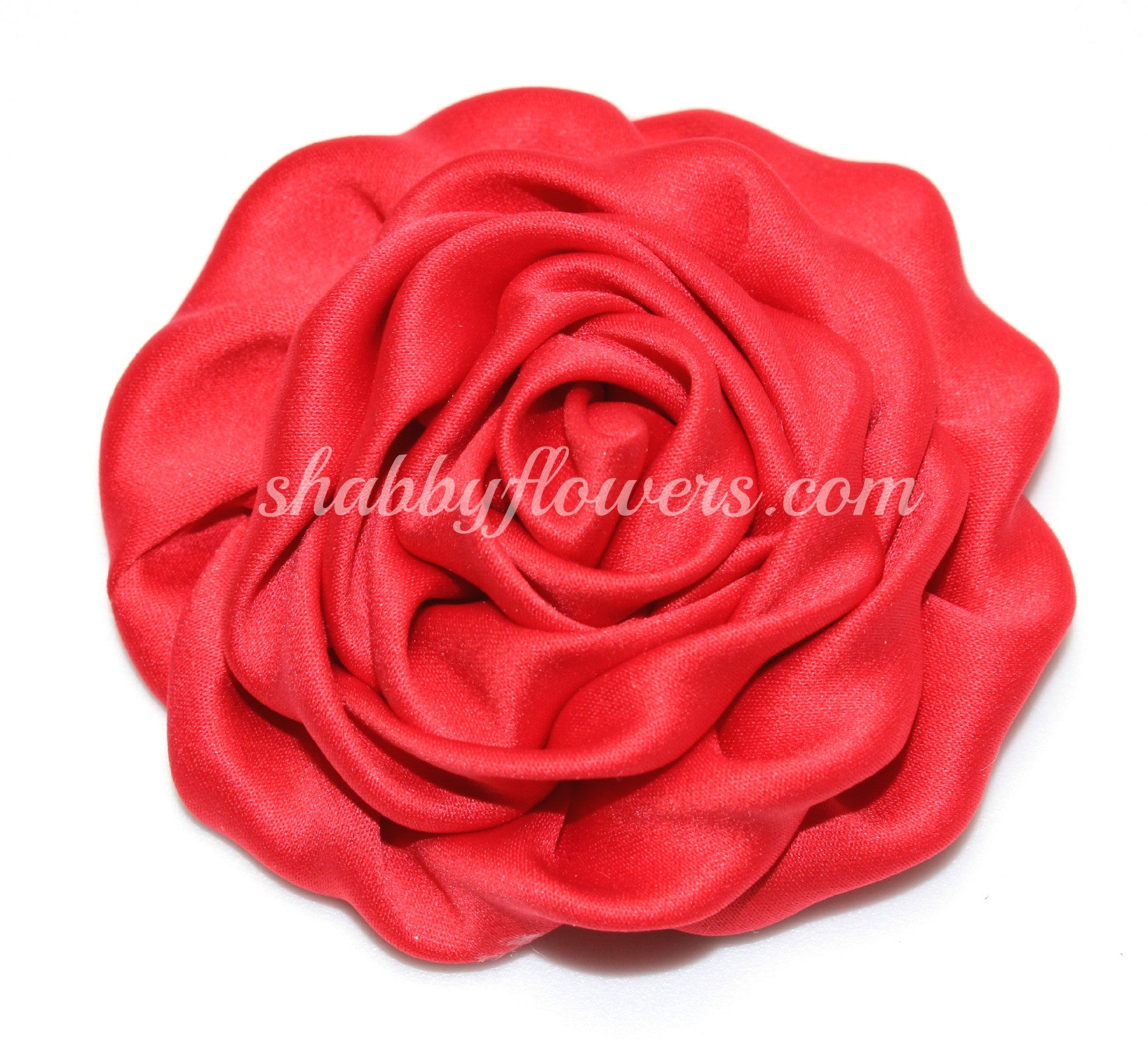 Ruffle Rosette- Red - shabbyflowers.com