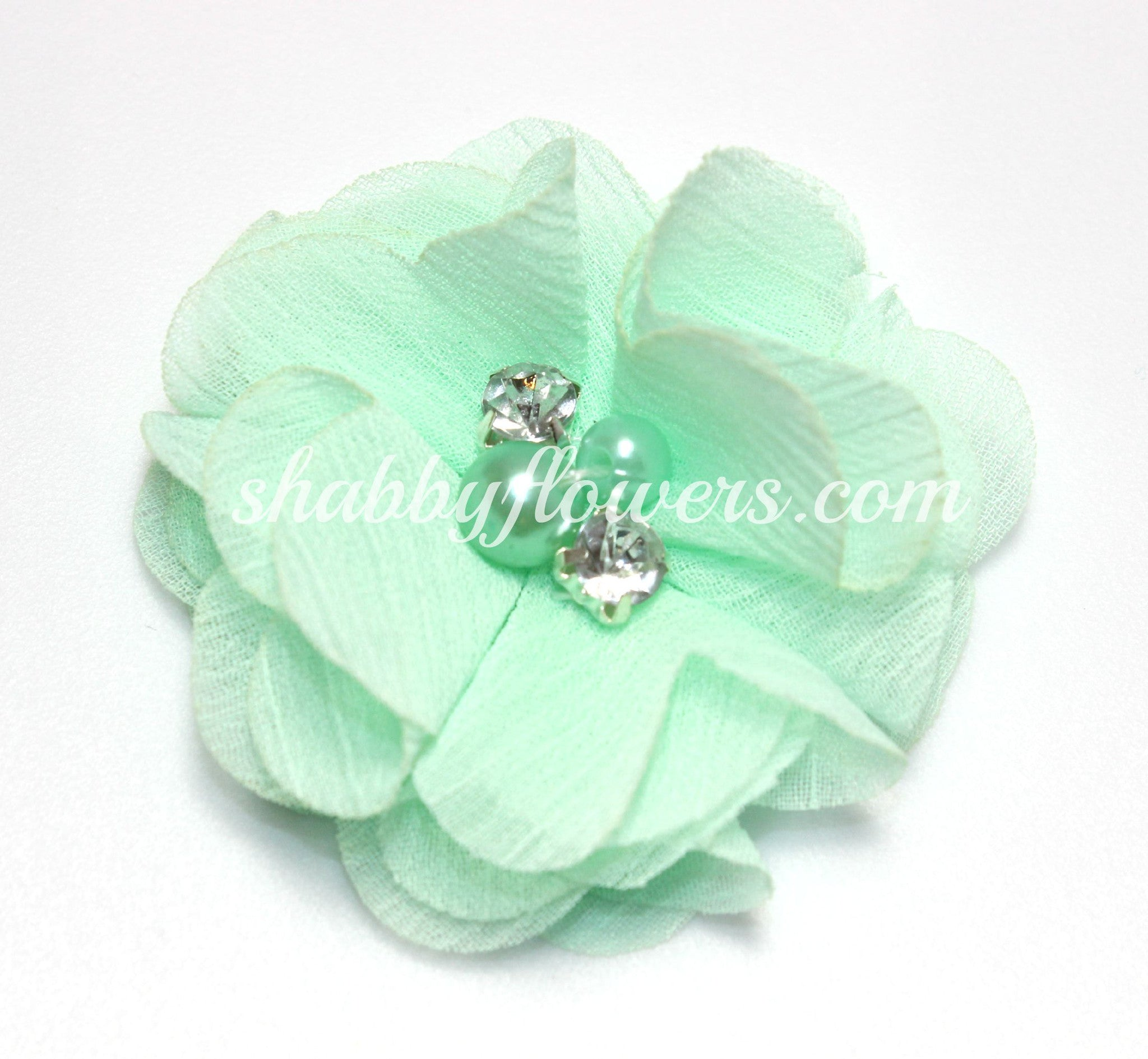 Pearl & Rhinestone Flower- Mint - shabbyflowers.com
