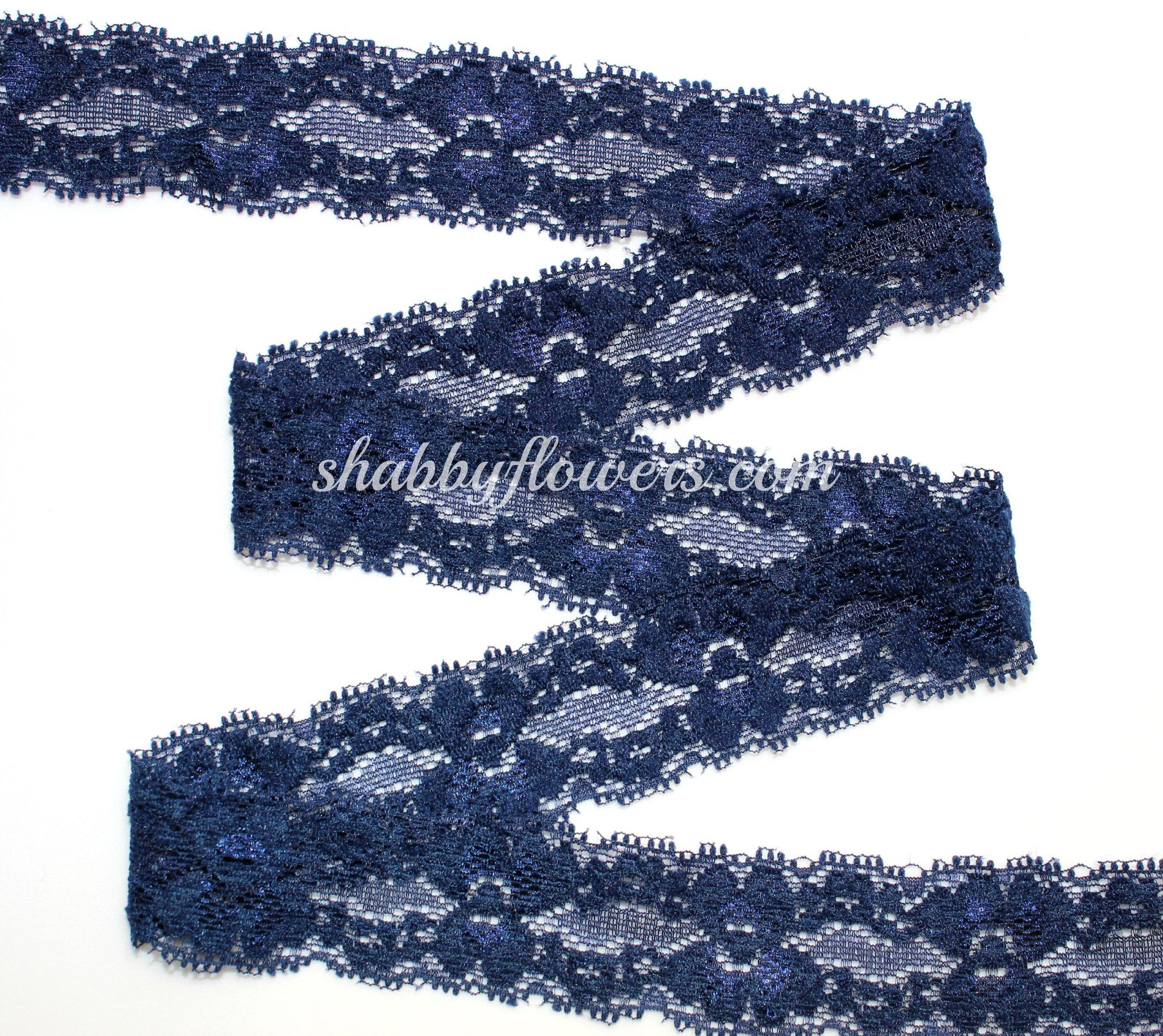 "1"" Lace Elastic - Navy - shabbyflowers.com"