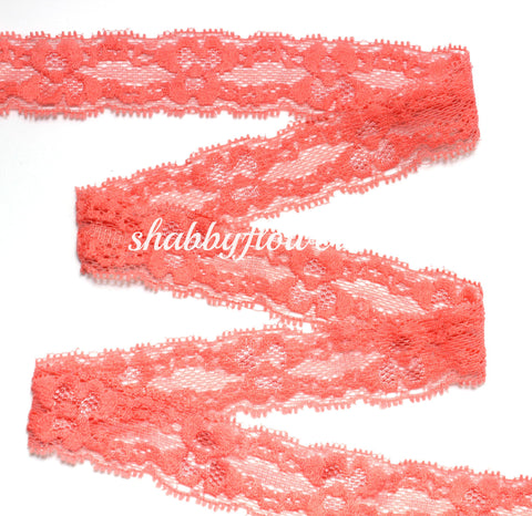 "1"" Lace Elastic - Coral"