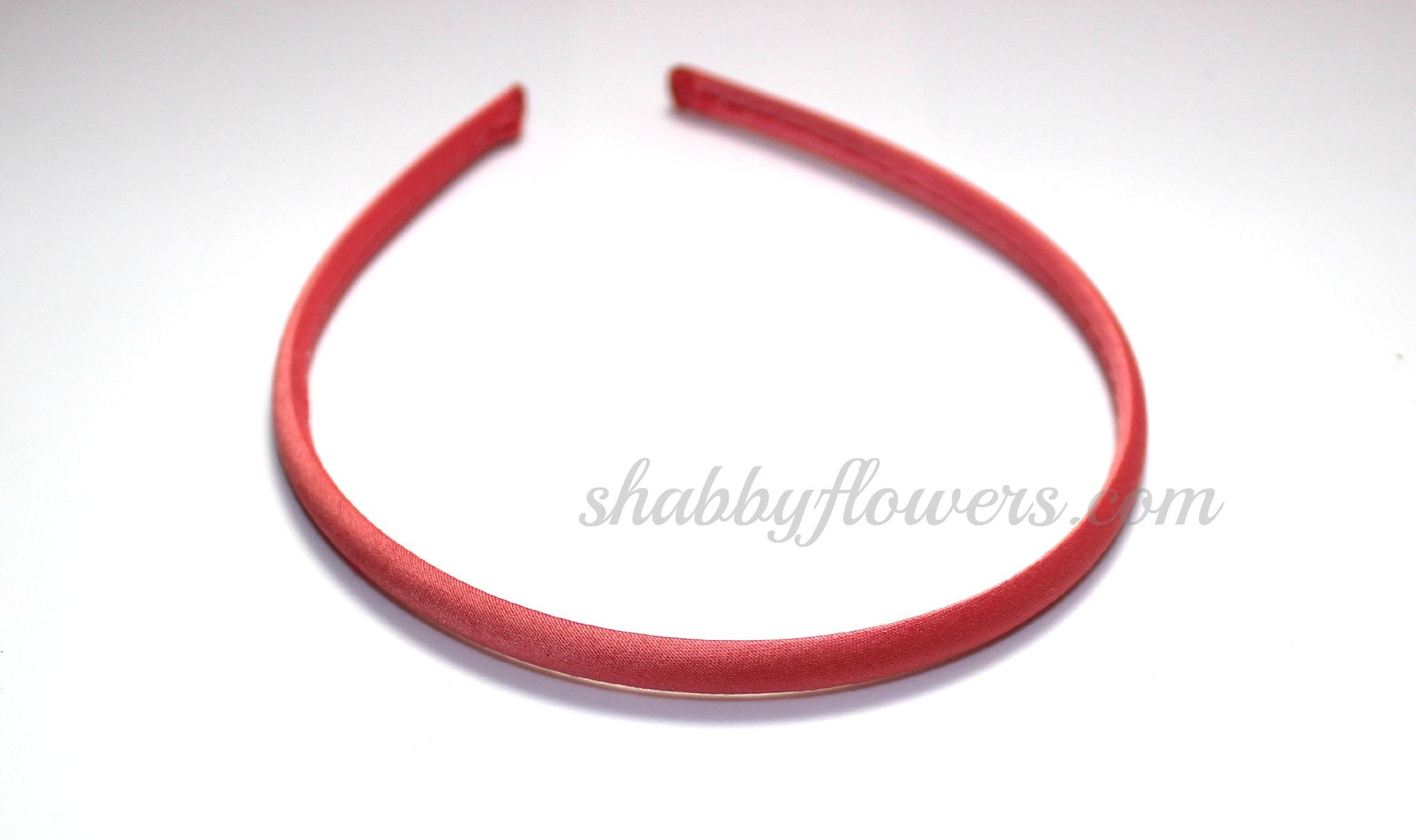 Satin COVERED Headband - Coral - shabbyflowers.com