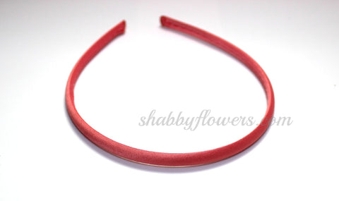 Satin COVERED Headband - Coral
