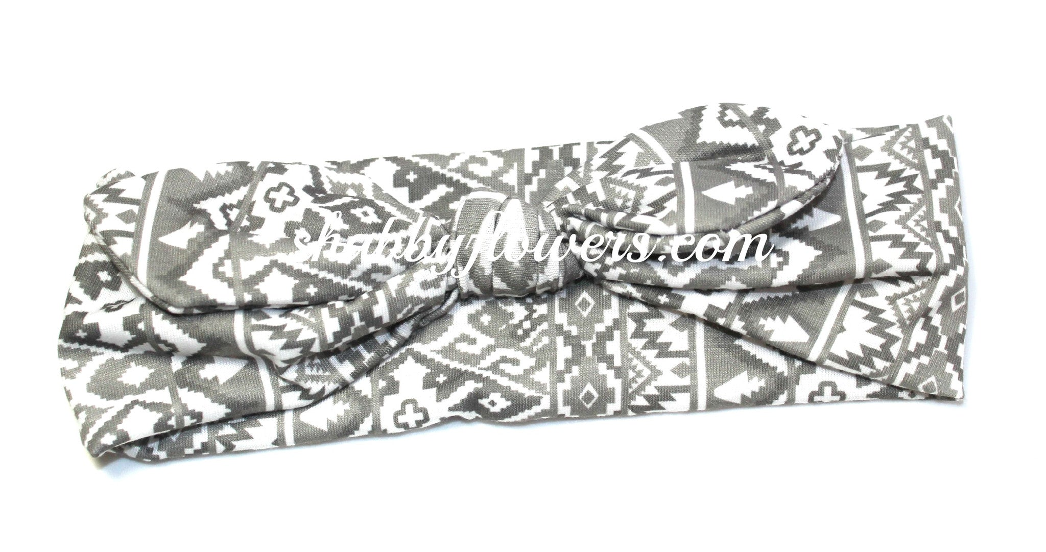 Knot Headband- Aztec Gray/White - Regular - shabbyflowers.com