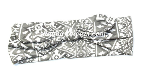 Knot Headband- Aztec Gray/White - Small