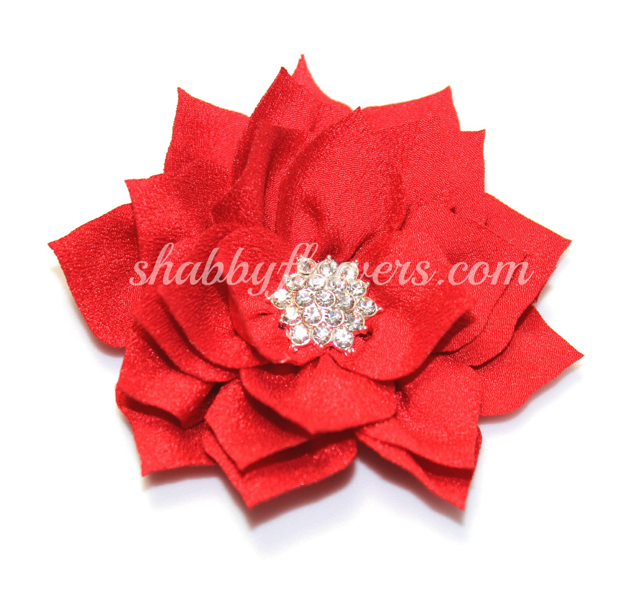 Lotus Rhinestone Flower - Red - shabbyflowers.com