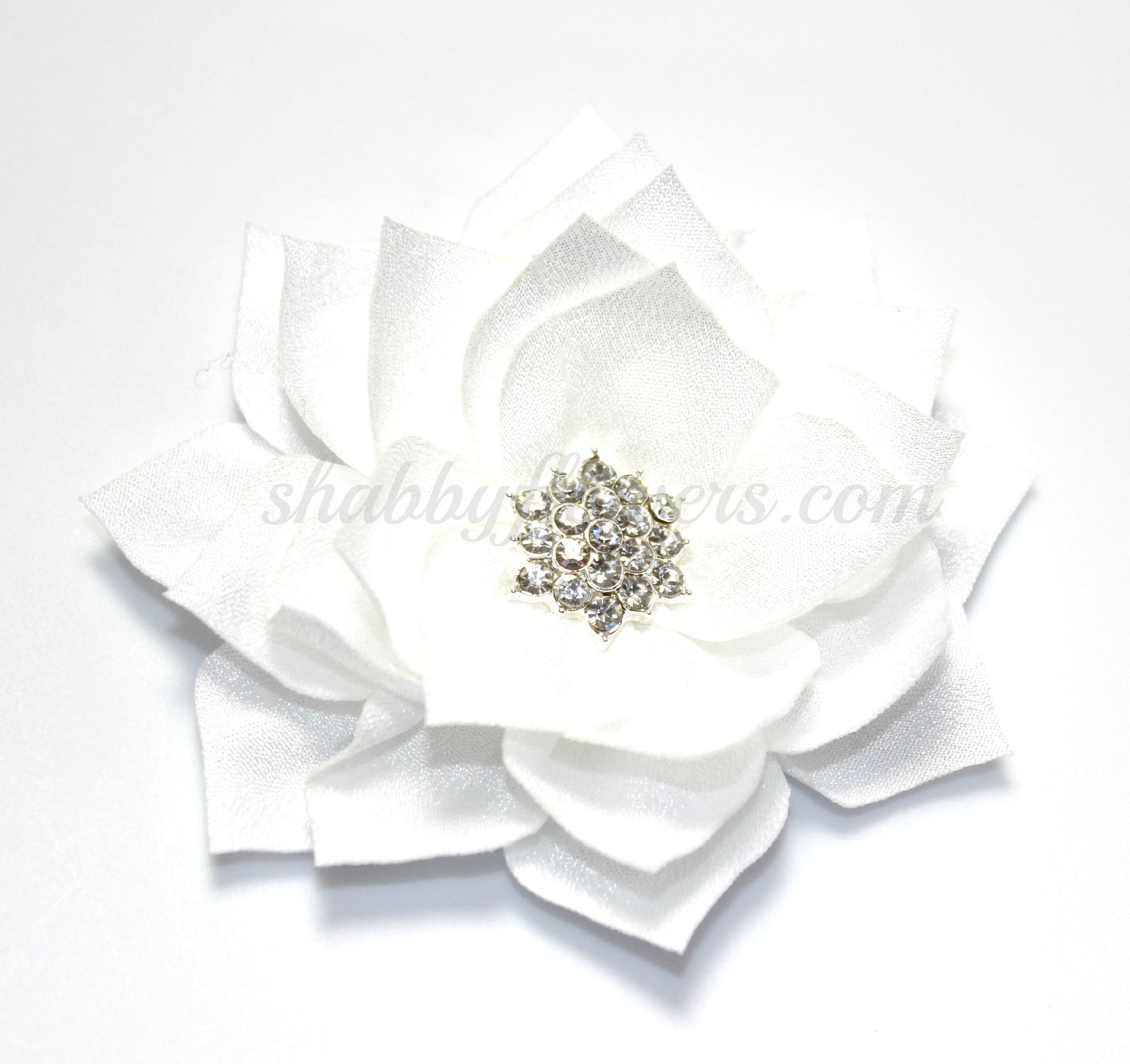 Lotus Rhinestone Flower - White - shabbyflowers.com