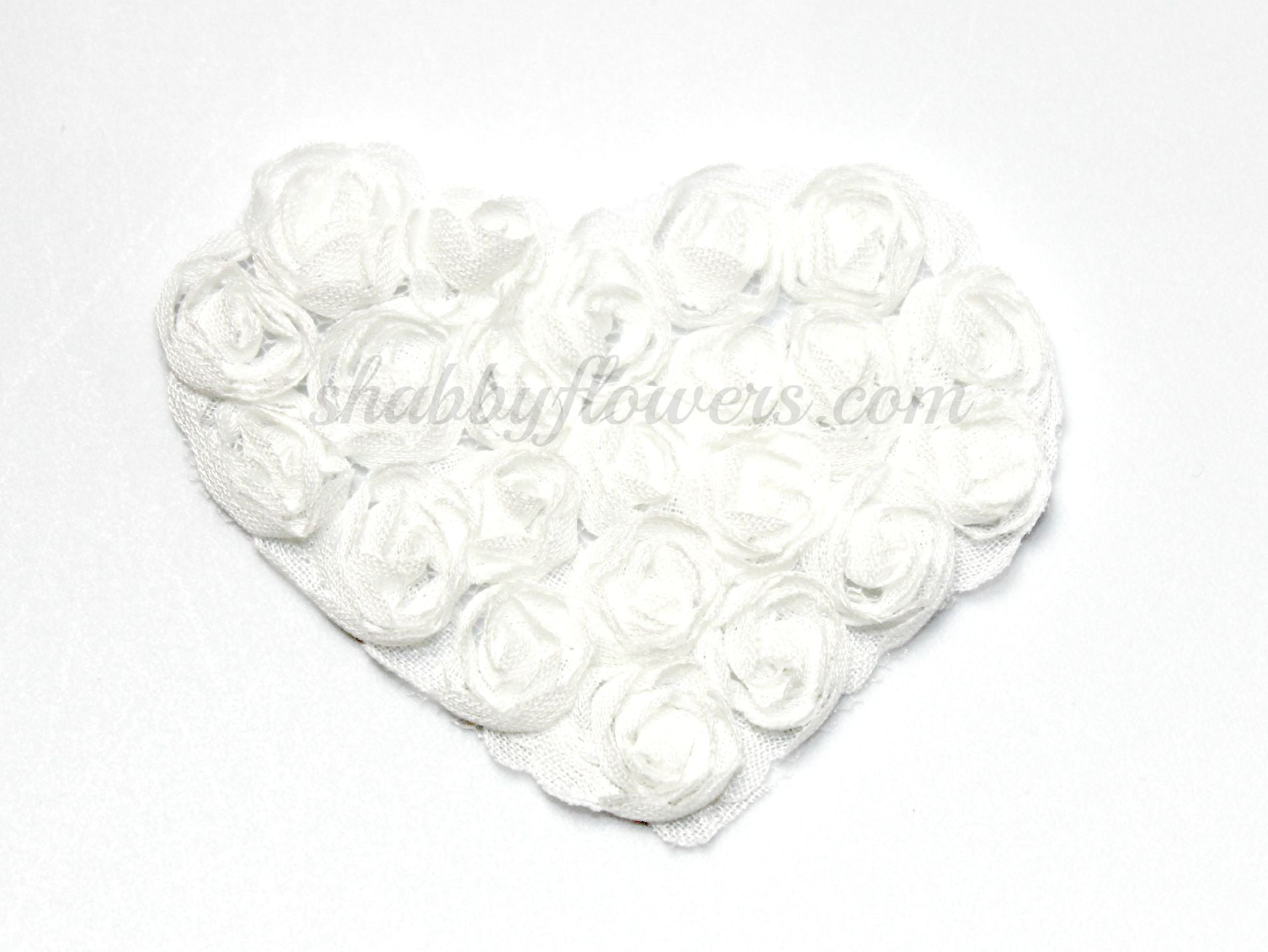 Small Shabby Heart - Choose You Color - White or Ivory - shabbyflowers.com