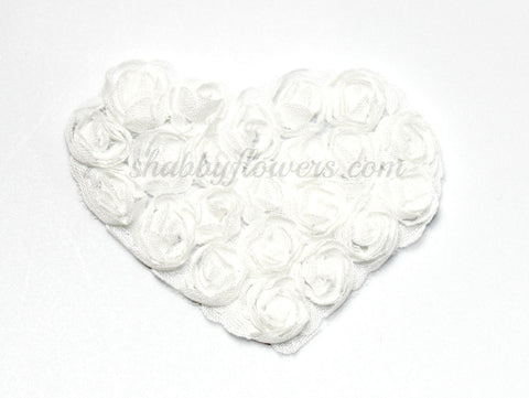 Small Shabby Heart - Choose You Color - White or Ivory
