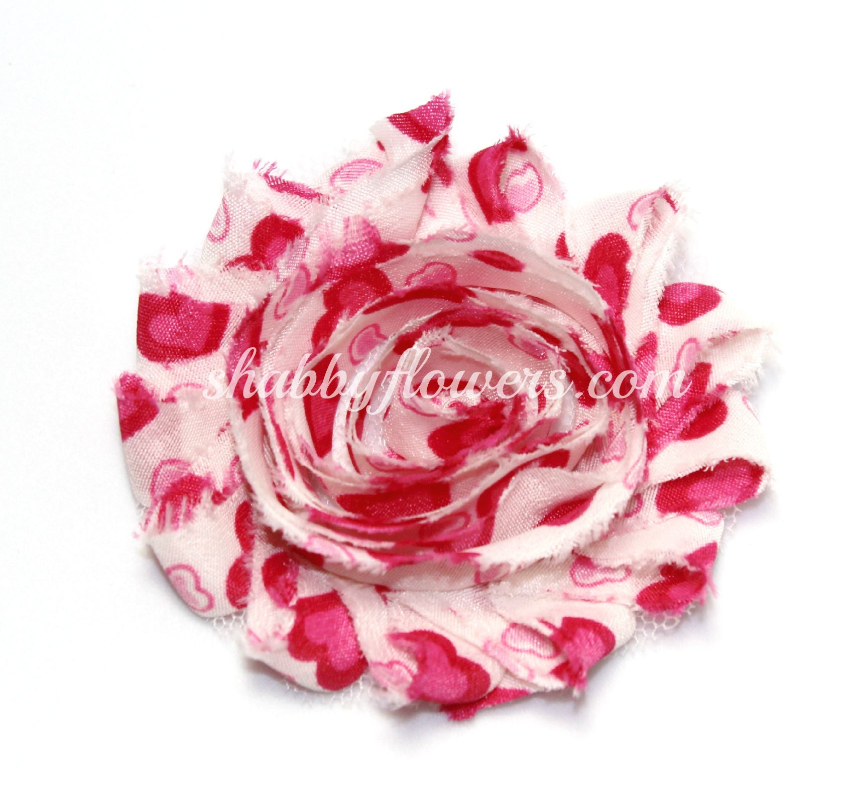 Shabby Chiffon Flower - Hot Pink Valentine Hearts - shabbyflowers.com