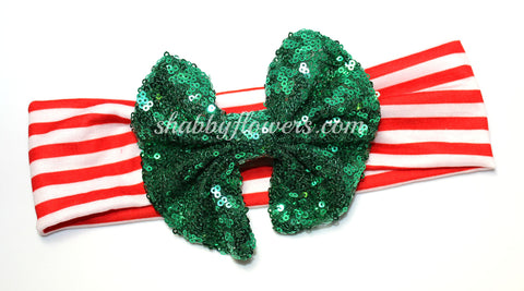 Sequin Bow Headband- Christmas
