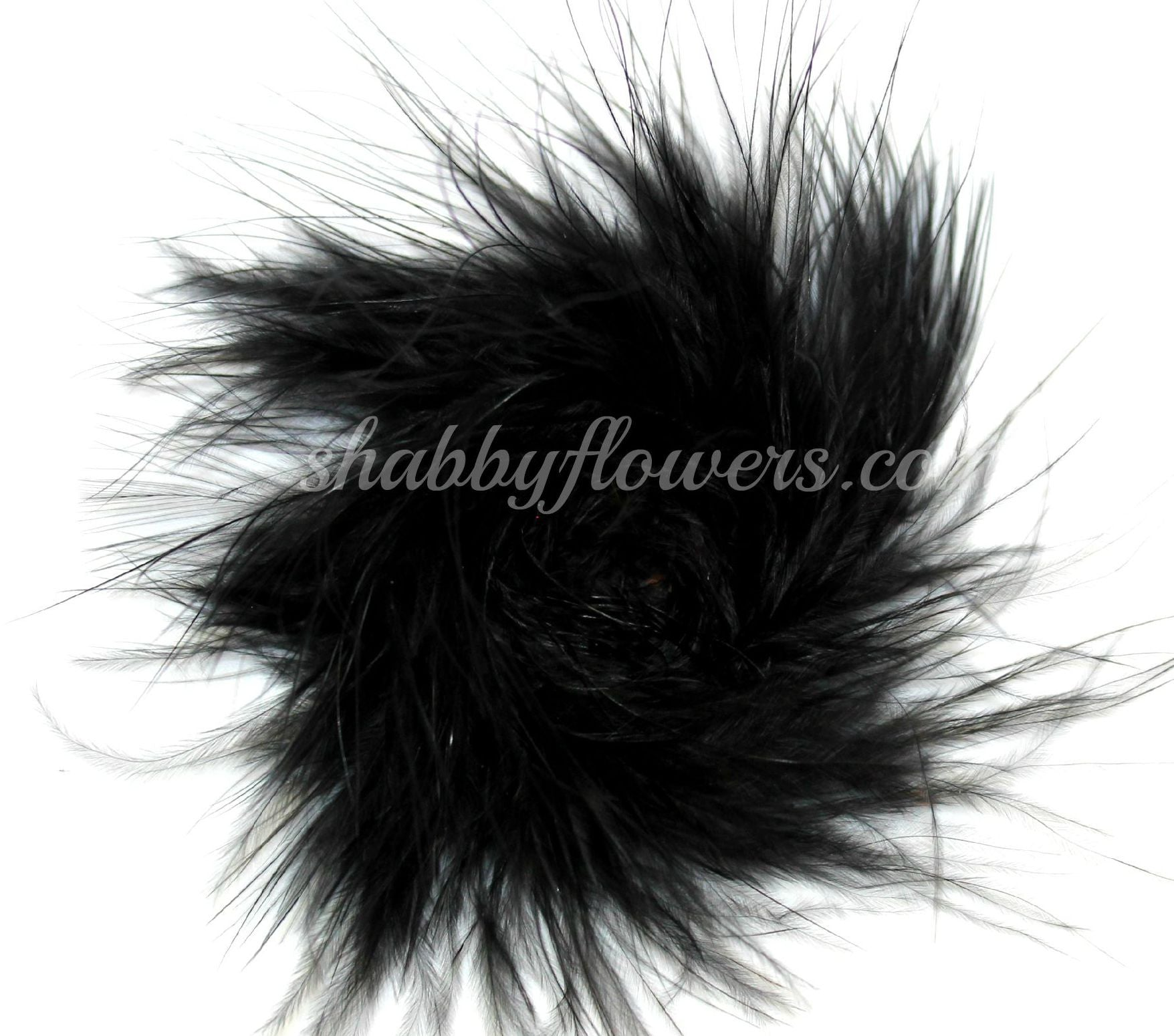 Marabou Feather Puff - Black - shabbyflowers.com
