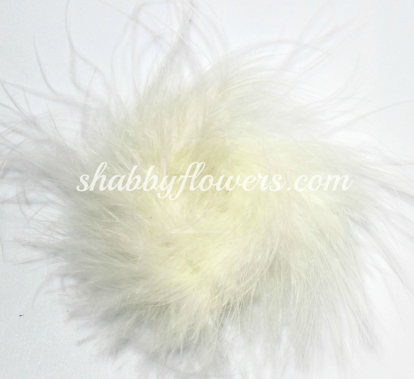 Marabou Feather Puff - Cream - shabbyflowers.com