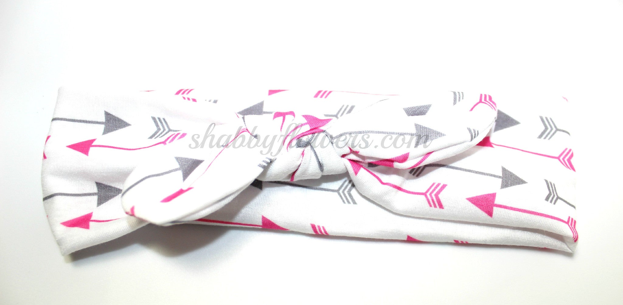 Knot Headband- Pink/Gray Arrows - Small - shabbyflowers.com