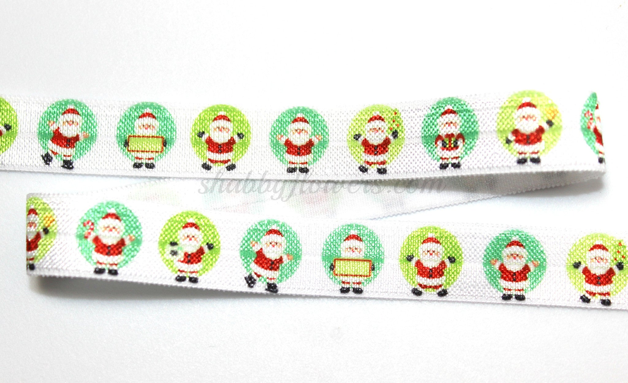 Elastic - Christmas Santa on Dot - shabbyflowers.com