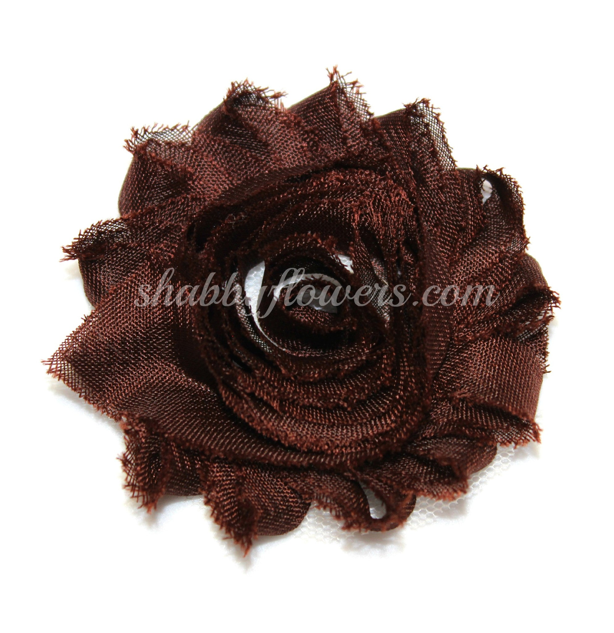 Shabby Chiffon Flower - Brown - shabbyflowers.com