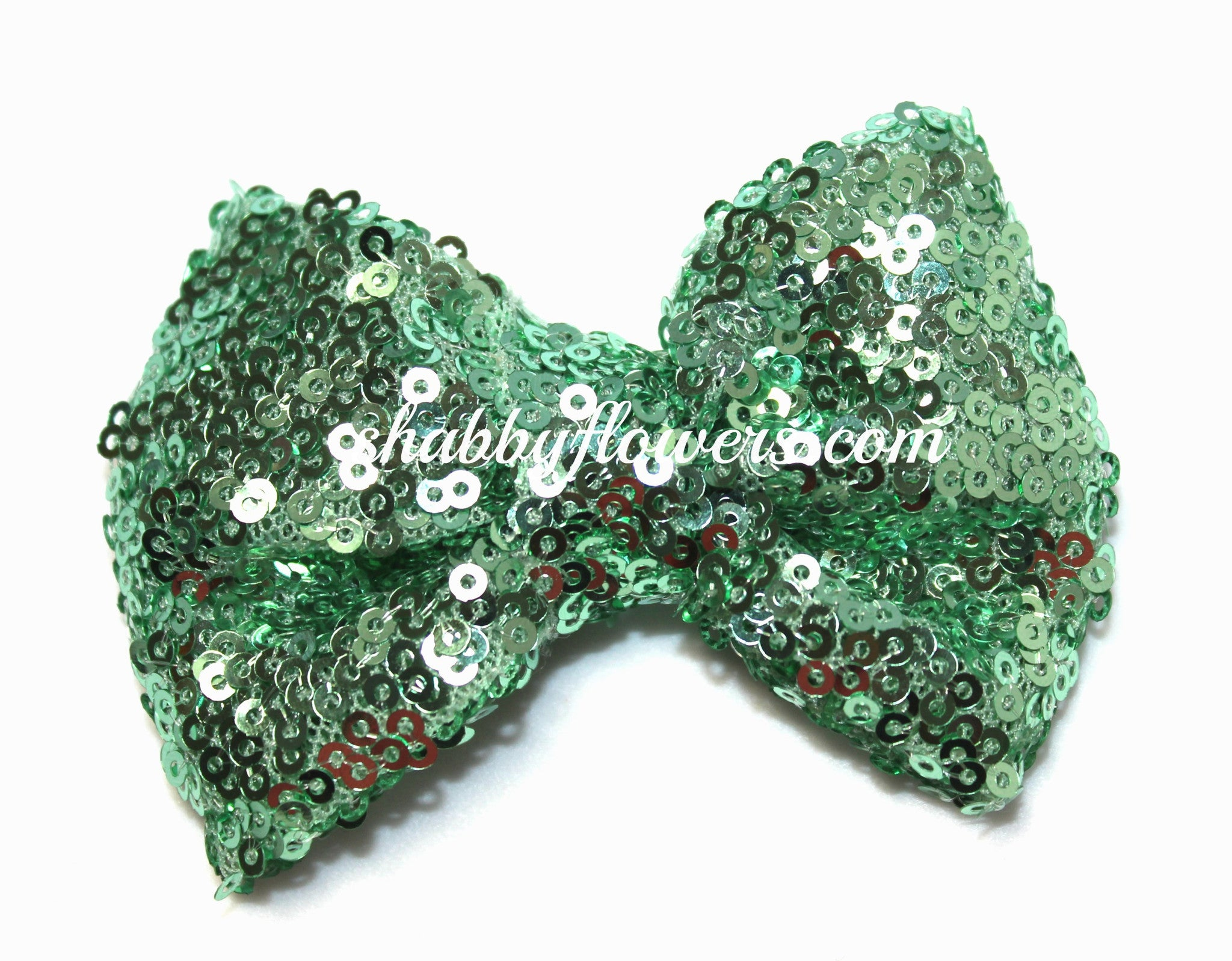 Medium Sequin Bow - Mint - shabbyflowers.com