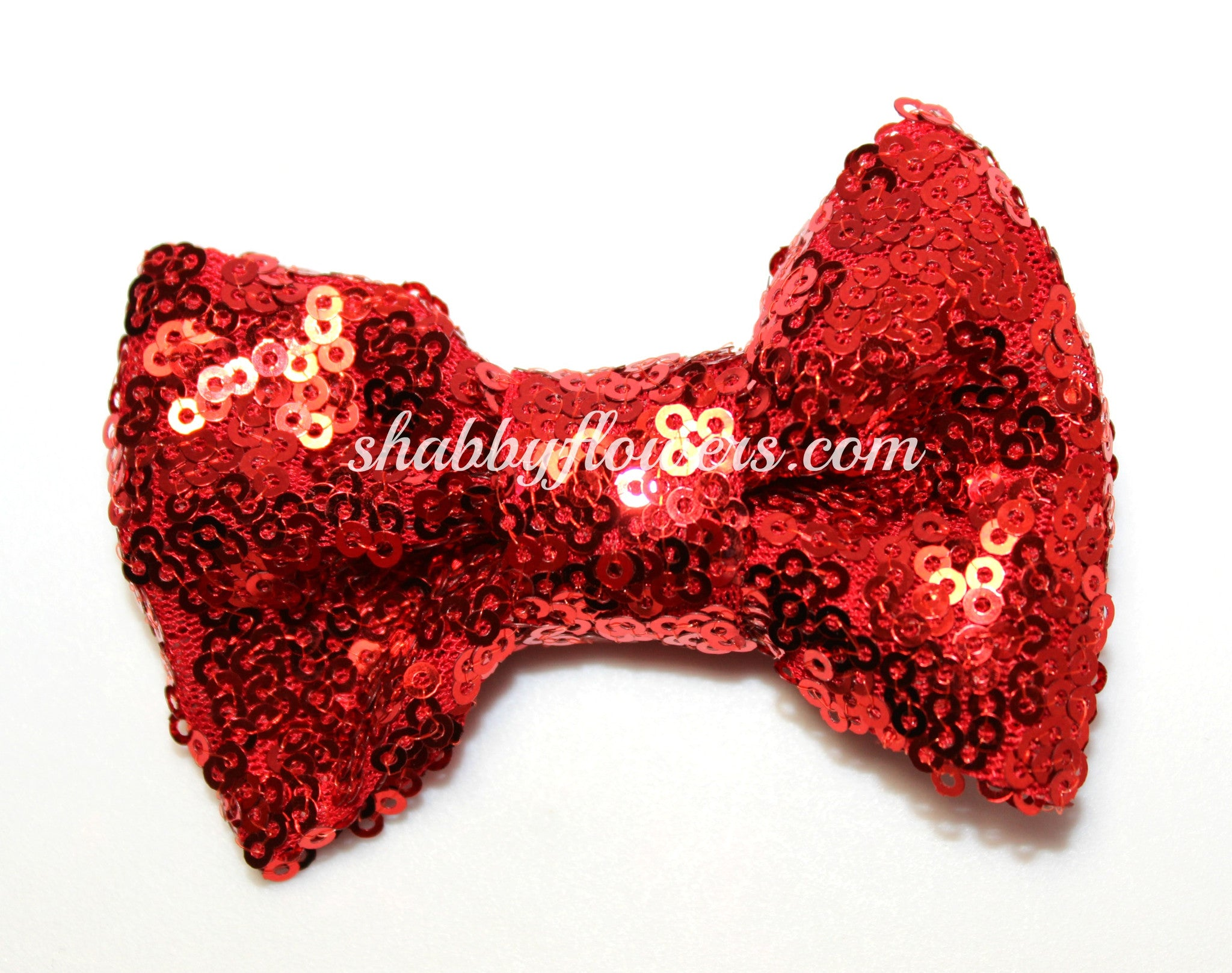 Large Sequin Bow - Red - shabbyflowers.com