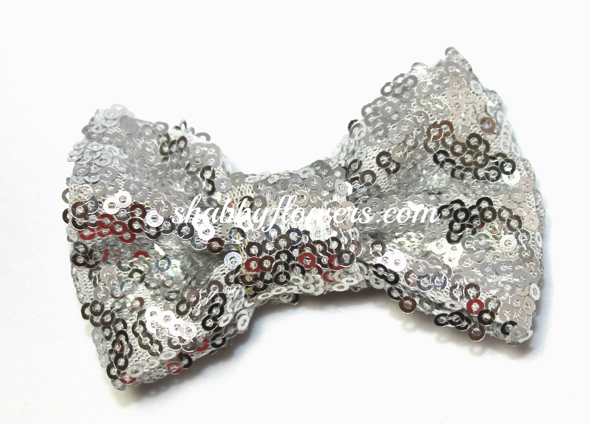 Large Sequin Bow - Silver - shabbyflowers.com