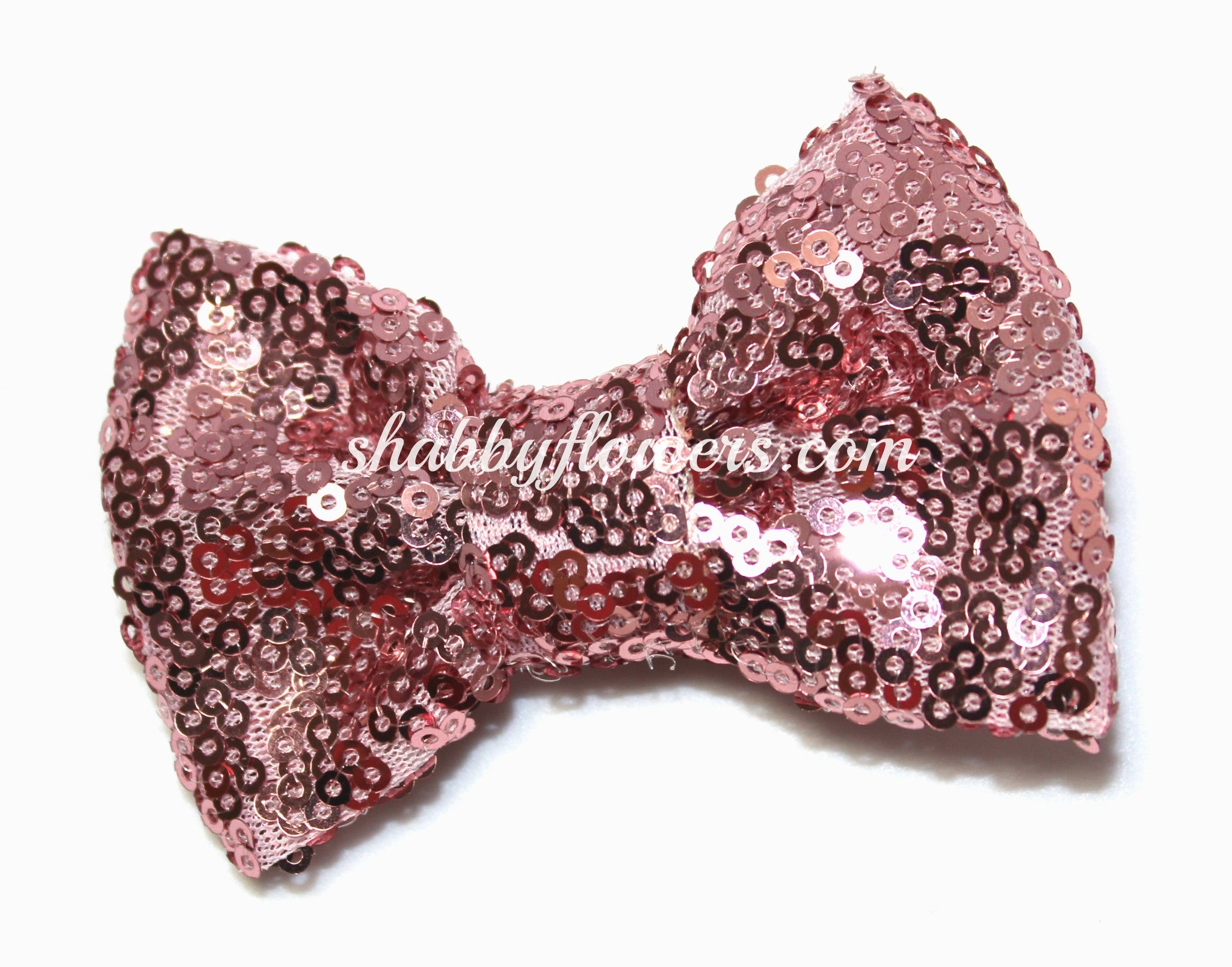 Large Sequin Bow - Dusty Pink - shabbyflowers.com
