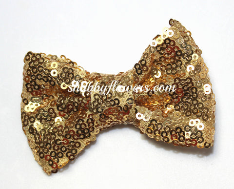 Medium Sequin Bow - Gold