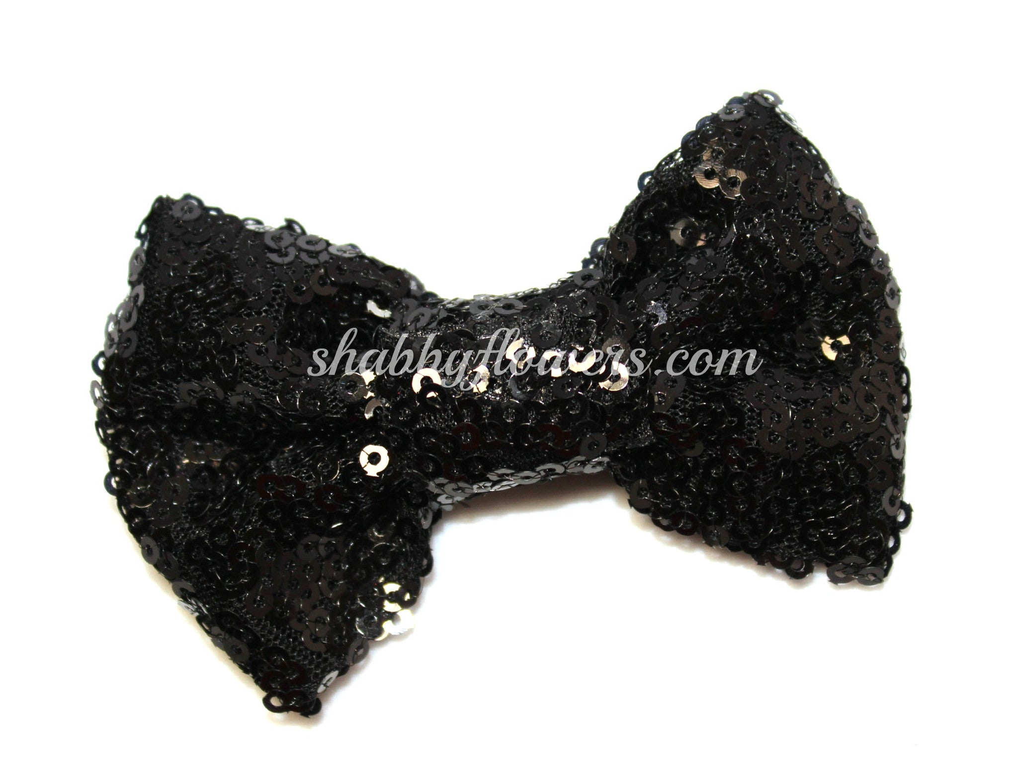 Medium Sequin Bow - Black - shabbyflowers.com